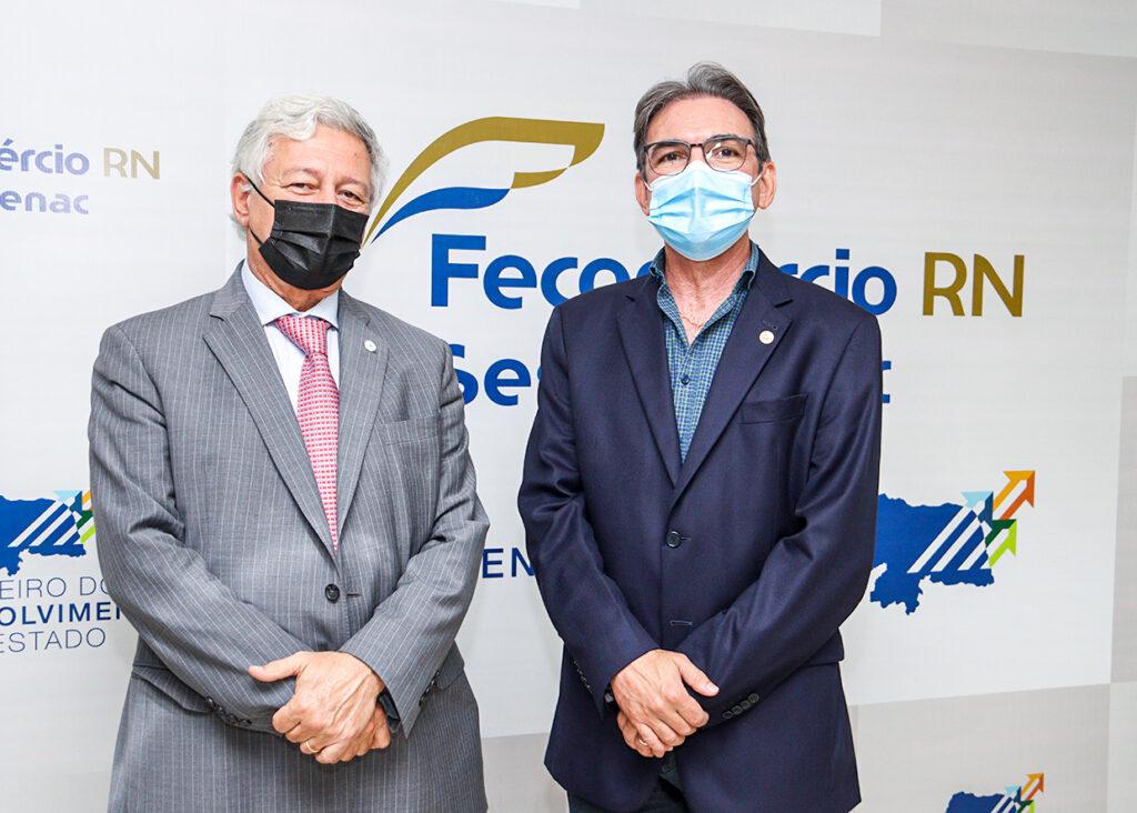 Alejandro Fuentes e Marcelo Queiroz, na sede da Fecomércio-RN